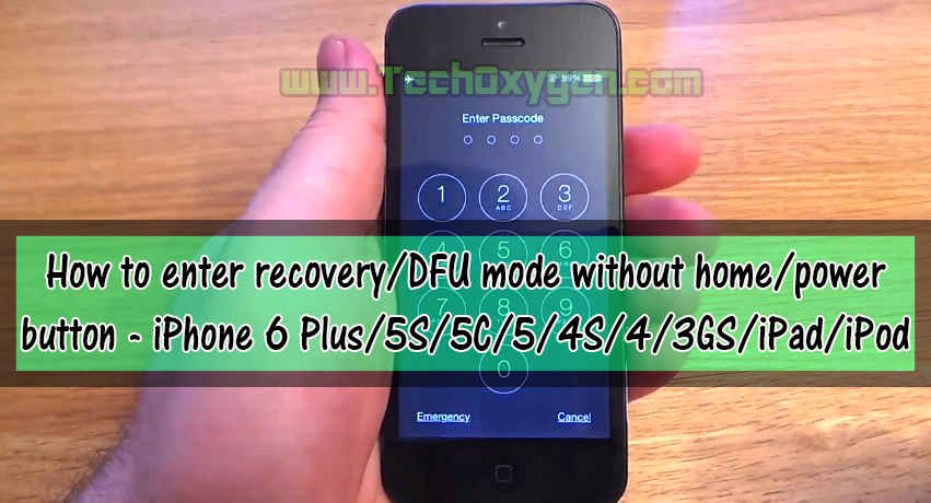 How to enter recovery/DFU mode without home/power button - iPhone 6 Plus/5S/5C/5/4S/4/3GS/iPad/iPod
