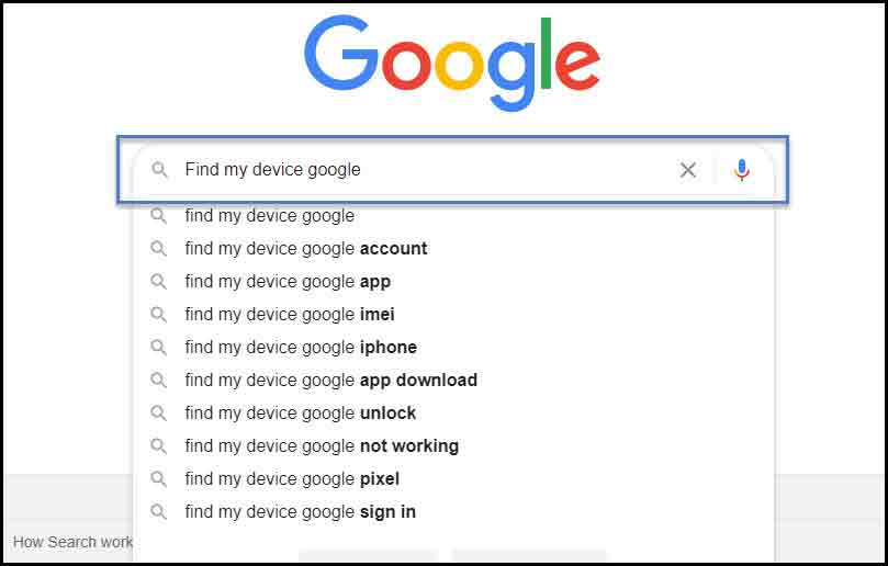 Searching Find My Device Google