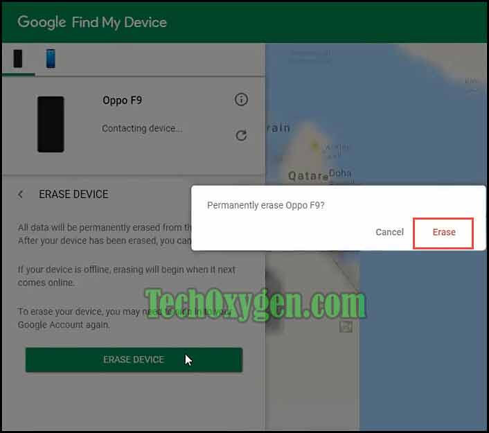 Erase Data from phone using Find My Device